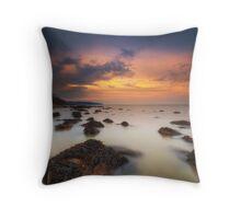 Woodside Beach Sunset Throw Pillow
