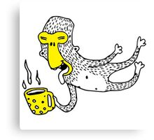 Flying monkey with mug of coffee Canvas Print