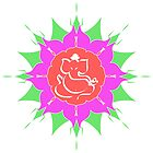 God Ganesha on pink flower by cycreation