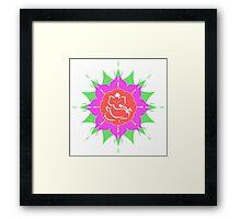 God Ganesha on pink flower Framed Print