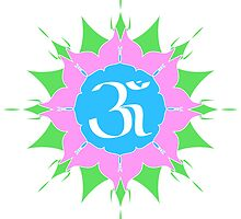 OM symbol on pink flower by cycreation