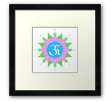 OM symbol on pink flower Framed Print