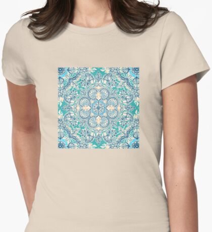 Gypsy Floral in Teal & Blue Womens Fitted T-Shirt