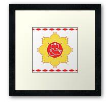 God Ganesha on red yellow flower Framed Print