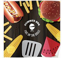 Summer BBQ fun food design Poster