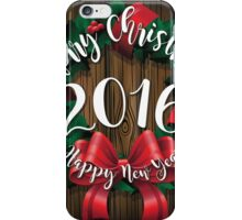 Merry Christmas and Happy New Year 2016 wreath on wood  iPhone Case/Skin