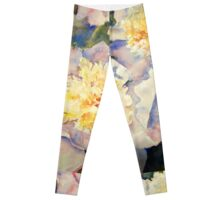 Yellow Pink Peonies Leggings