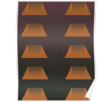 Pattern 026 Trapezoid Pattern, Neon Orange, Purple Green Poster