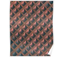 Pattern 027 Honeycomb Pink Salmon Blue Poster
