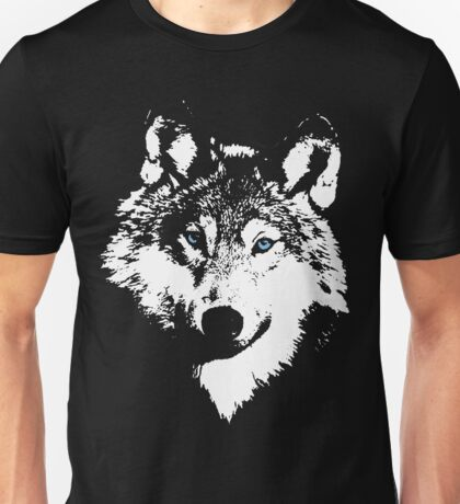 Blue Eyed White Wolf Unisex T-Shirt