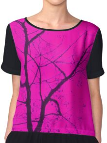 Central Magenta Tree Chiffon Top