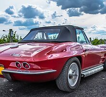 Vintage Corvette Sting Ray In Vineyard by Edward Fielding