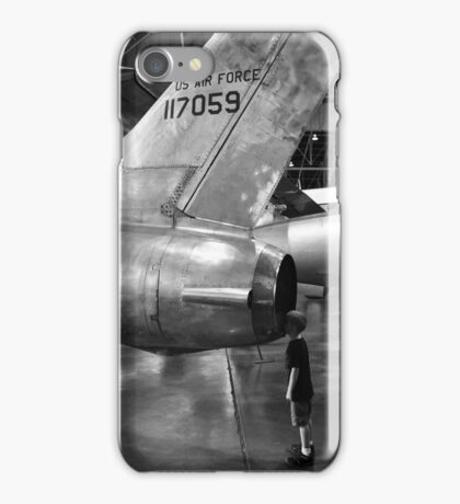 Boy looking into jet airplane thruster black and white iPhone Case/Skin