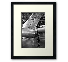 Boy looking into jet airplane thruster black and white Framed Print