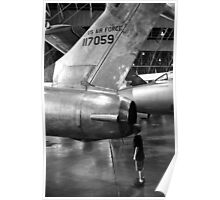 Boy looking into jet airplane thruster black and white Poster