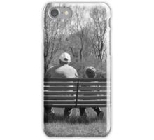 Young and old alike Great Grandfather and grandson at the pond on bench  iPhone Case/Skin
