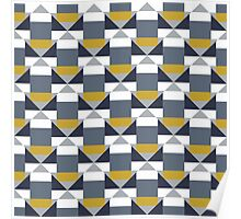 Geometric pattern with grey blocks Poster