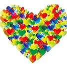 Colorful watercolor heart shapes by schtroumpf2510