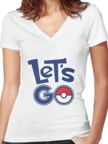 Pokemon GO - Let's Go - Pokémon GO Fans - Pokemon Women's Fitted V-Neck T-Shirt
