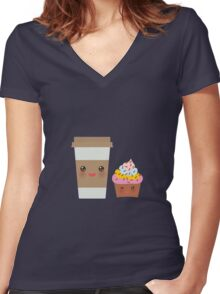 Coffee take away Women's Fitted V-Neck T-Shirt