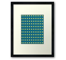 Pattern 030 Yellow Oval Dots Blue Background Framed Print