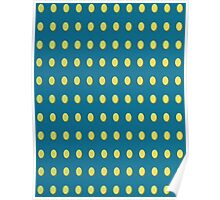 Pattern 030 Yellow Oval Dots Blue Background Poster