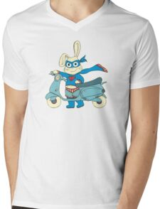 Be-All-You-Can-Be Bunny Rides in to Save the Day Mens V-Neck T-Shirt
