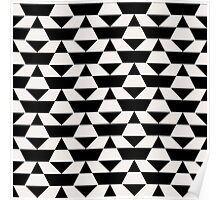 Black and white op art pattern Poster