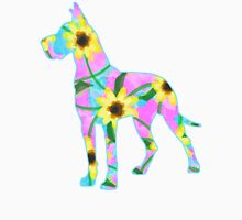 Great Dane Sunflower Watercolor Womens Fitted T-Shirt