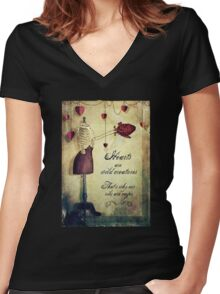 hearts are wild creatures Women's Fitted V-Neck T-Shirt