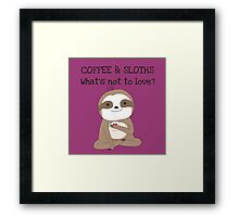 Cute Animals Coffee And Sloths Framed Print