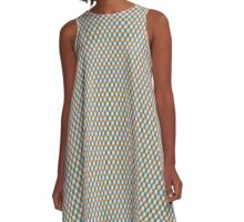 Cubes pattern in brown A-Line Dress