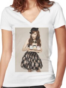 TaeYeon SNSD Girls Generation KPOP Women's Fitted V-Neck T-Shirt