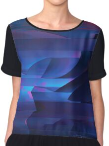 Coastal Cliffs At Sunset Abstract Cubism Art Chiffon Top