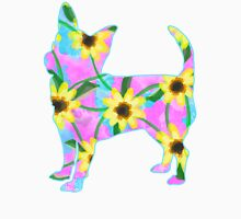 Chihuahua Sunflower Watercolor Womens Fitted T-Shirt