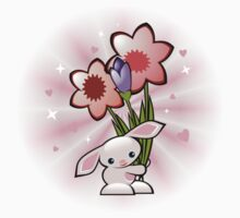 Cute Pink Bunny With Flowers Baby Tee