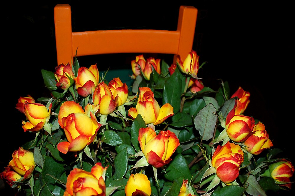 Roses on a chair by Arie Koene