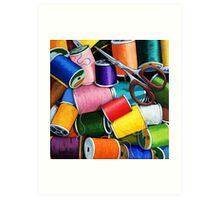 Threads - Colorful Sewing Thread painting Art Print