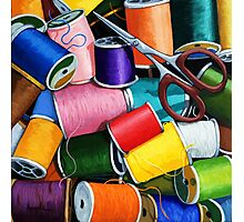 Threads - Colorful Sewing Thread painting Photographic Print