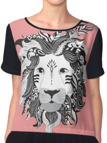 Animal Drawings Regal Tribal Lion Chiffon Top