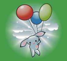 Cute Blue Bunny Flying With Balloons One Piece - Short Sleeve