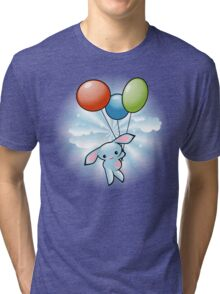 Cute Blue Bunny Flying With Balloons Tri-blend T-Shirt