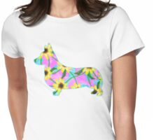 Corgi Watercolor Sunflowers Womens Fitted T-Shirt