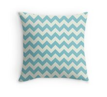 Blue retro Chevron pattern  Throw Pillow