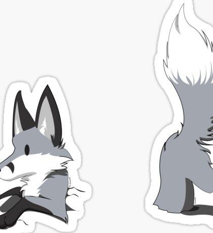 Stuck Grey Fox Sticker