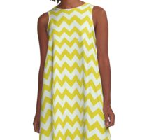 Beautiful bright yellow retro Chevron pattern  A-Line Dress