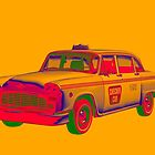 Checkered Taxi Cab Pop Art by KWJphotoart