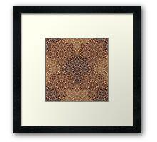Brown Boho Mandela Pattern Framed Print