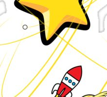 Star, planets and a red rocket Sticker