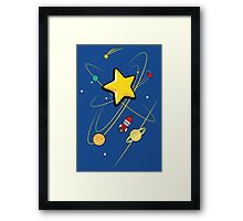 Star, planets and a red rocket Framed Print